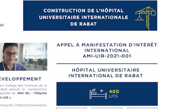 Avis à manifestation d'intérêt international Hôpital Universitaire International de Rabat